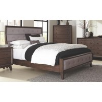 BINGHAM COLLECTION - Bingham Retro-Modern Brown Upholstered Eastern King Bed