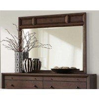 BINGHAM COLLECTION - Bingham Retro-Modern Brown Oak Mirror