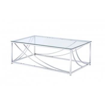 LIVING ROOM: GLASS TOP OCCASIONAL TABLES - Contemporary Chrome Coffee Table