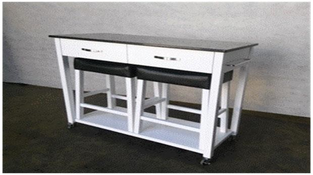 DINING: PACKAGED SETS : COUNTER HEIGHT - Contemporary White Three-Piece Dining Set