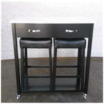 DINING: PACKAGED SETS : COUNTER HEIGHT - Traditional Black Three-Piece Dining Set