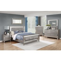LEIGHTON COLLECTION - Leighton Contemporary Metallic Queen Bed