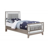 LEIGHTON COLLECTION - Leighton Contemporary Metallic Twin Bed