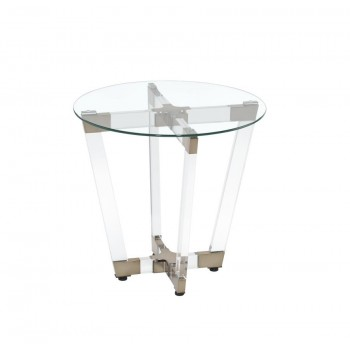 LIVING ROOM: GLASS TOP OCCASIONAL TABLES - END TABLE