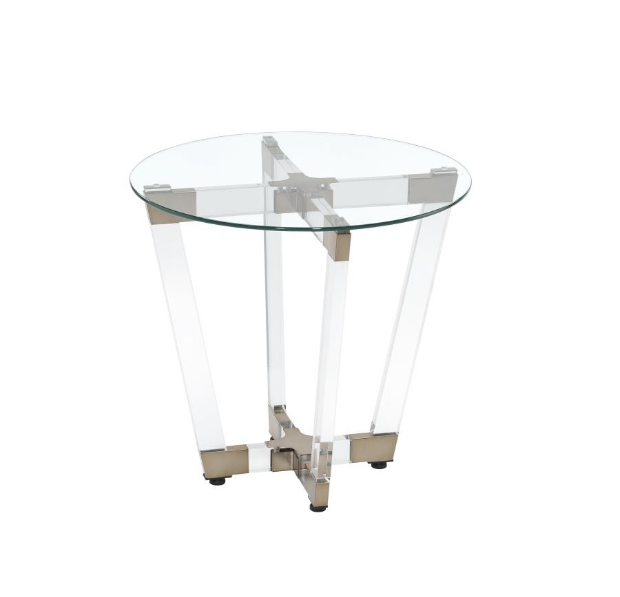 LIVING ROOM: GLASS TOP OCCASIONAL TABLES   Contemporary Clear End Table