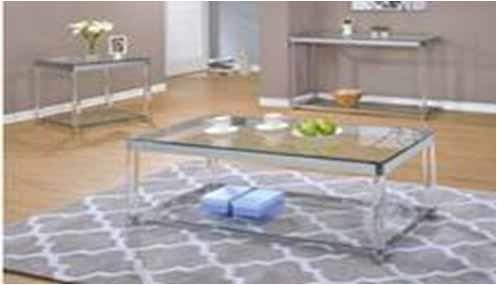 LIVING ROOM: GLASS TOP OCCASIONAL TABLES - Contemporary Chrome Side Table