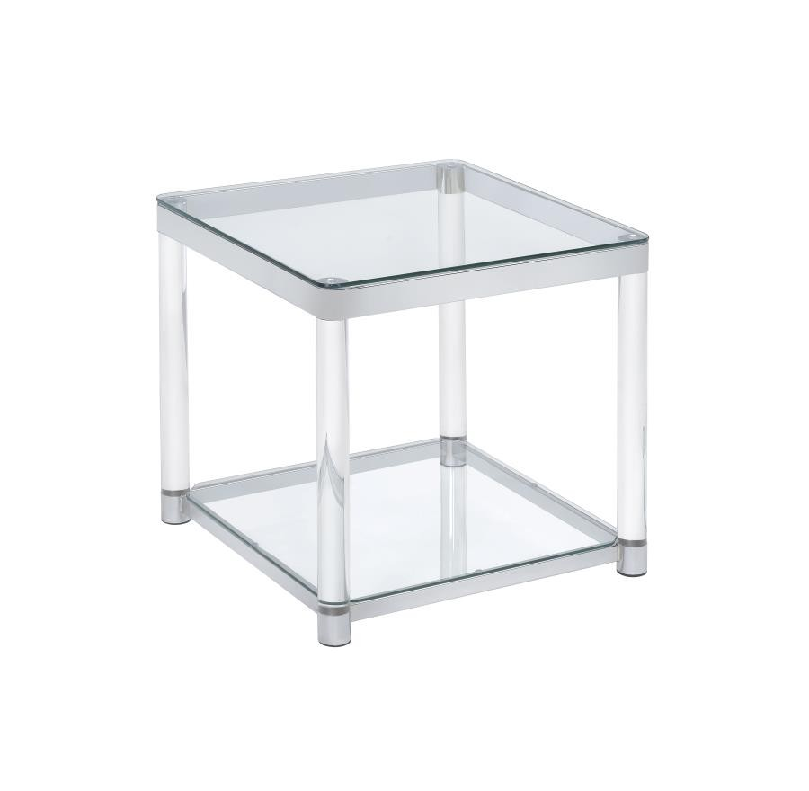 Living Room Glass Top Occasional Tables Contemporary Chrome Side Table 720747 End Tables
