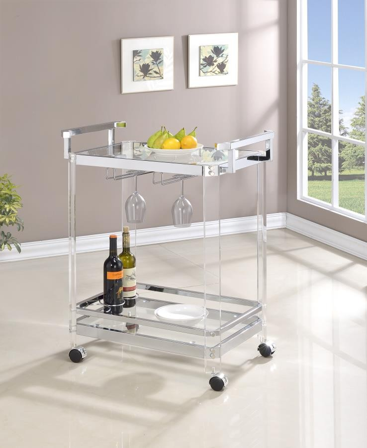 REC ROOM: SERVING CARTS - Traditional Clear Acrylic and Chrome Serving Cart