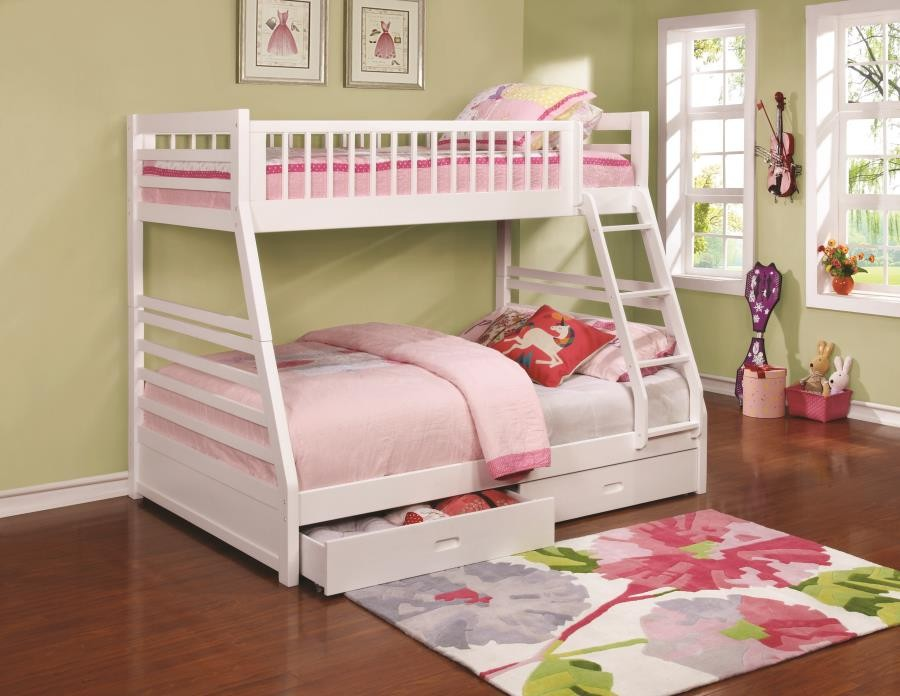 Ashton Collection White Twin Over Full Bunk Bed