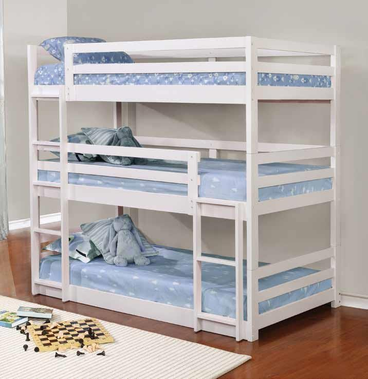 SANDLER TRIPLE BUNK BED - Sandler White Three-Bed Bunk Bed