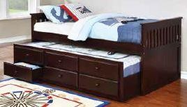 TWIN CAPTAIN'S BED WITH TRUNDLE - Transitional Cappuccino Twin Daybed with Trundle