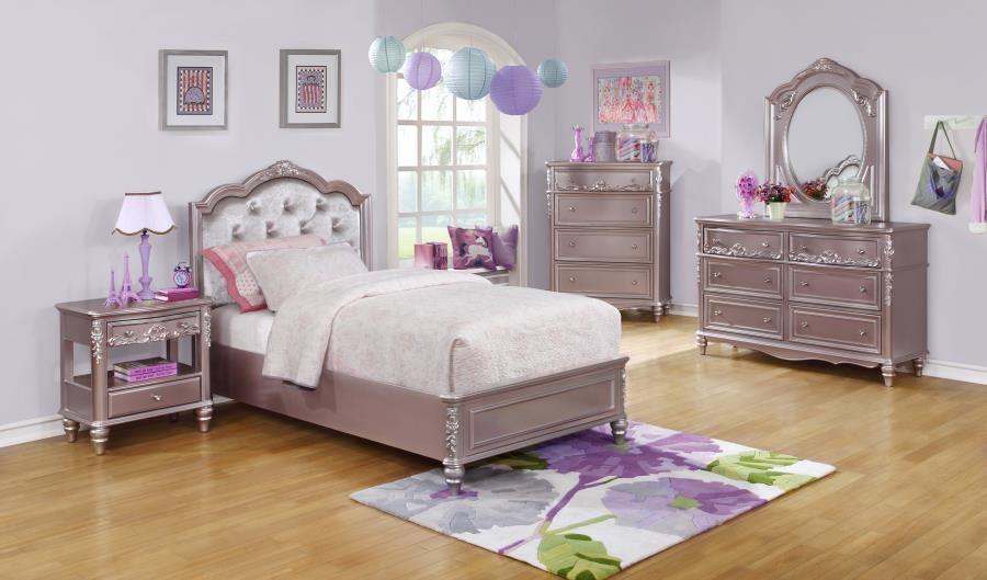 CAROLINE COLLECTION - Caroline Metallic Lilac Twin Bed