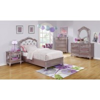 CAROLINE COLLECTION - Caroline Metallic Lilac Twin Bed
