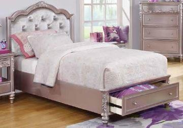 CAROLINE COLLECTION - Caroline Metallic Lilac Full Storage Bed