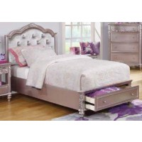 CAROLINE COLLECTION - Caroline Metallic Lilac Full Storage Bed