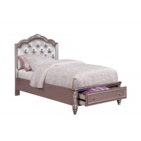 CAROLINE COLLECTION - Caroline Metallic Lilac Twin Storage Bed