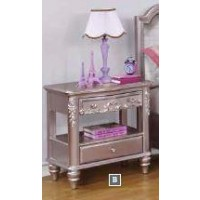 CAROLINE COLLECTION - Caroline Metallic Lilac Nightstand