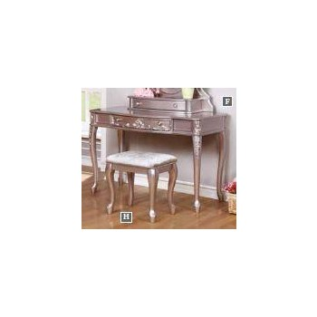CAROLINE COLLECTION - Caroline Metallic Lilac Vanity Desk