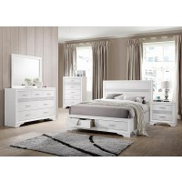 MIRANDA COLLECTION - Miranda Contemporary White Eastern King Storage Bed