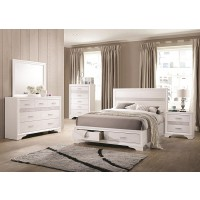 MIRANDA COLLECTION - Miranda Contemporary White California King Storage Bed
