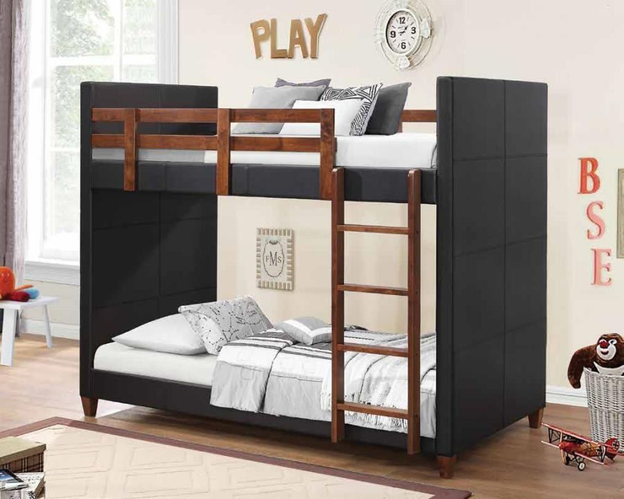 Diego Collection Diego Transitional Black Twin Over Twin Bunk Bed