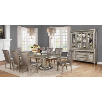 BLING GAME COLLECTION - Danette Metallic Platinum China Cabinet
