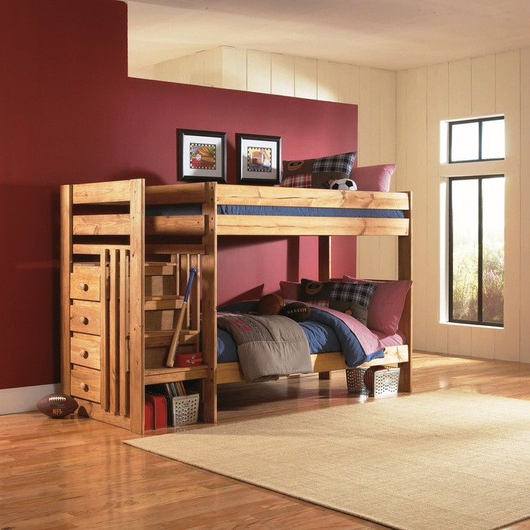 Twin Over Twin Bunkbeds With Left Starcase 7989 Bunk Beds