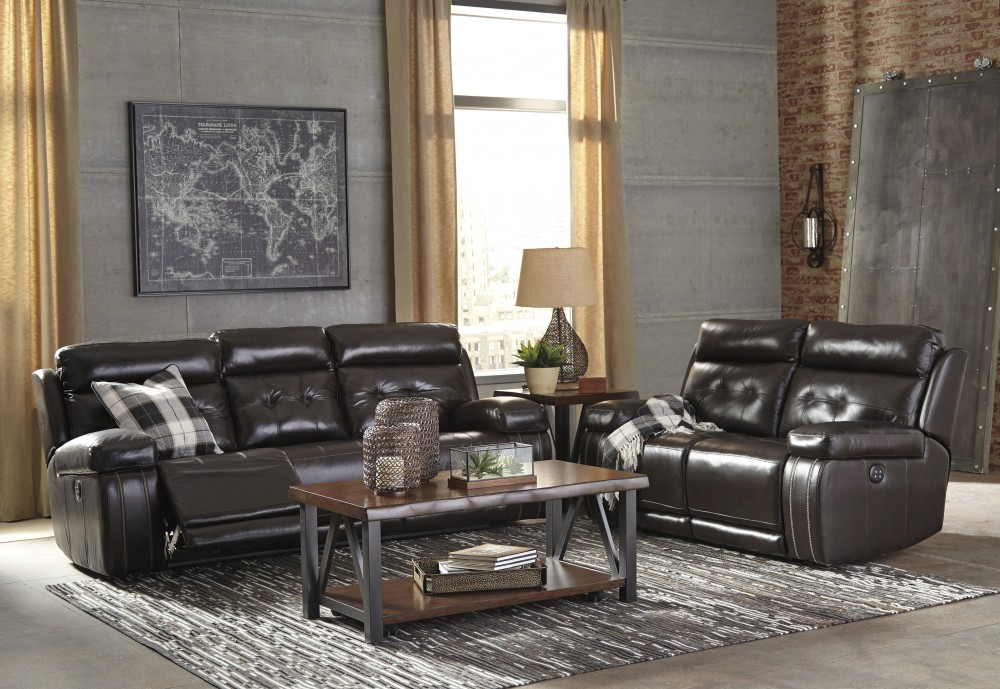 Graford - Walnut - Power Reclining Sofa & Loveseat