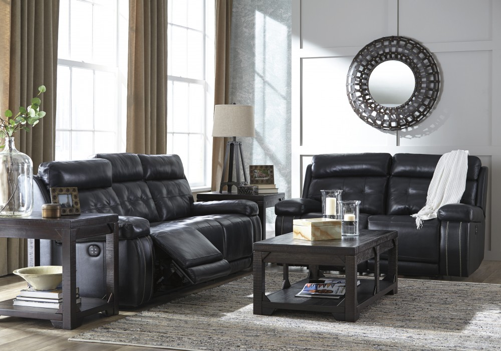 Graford - Navy - Power Reclining Sofa & Loveseat