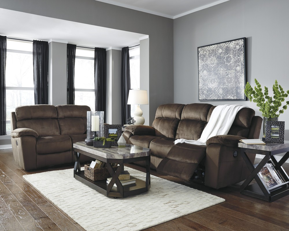 Uhland - Chocolate - Reclining Power Sofa & Loveseat