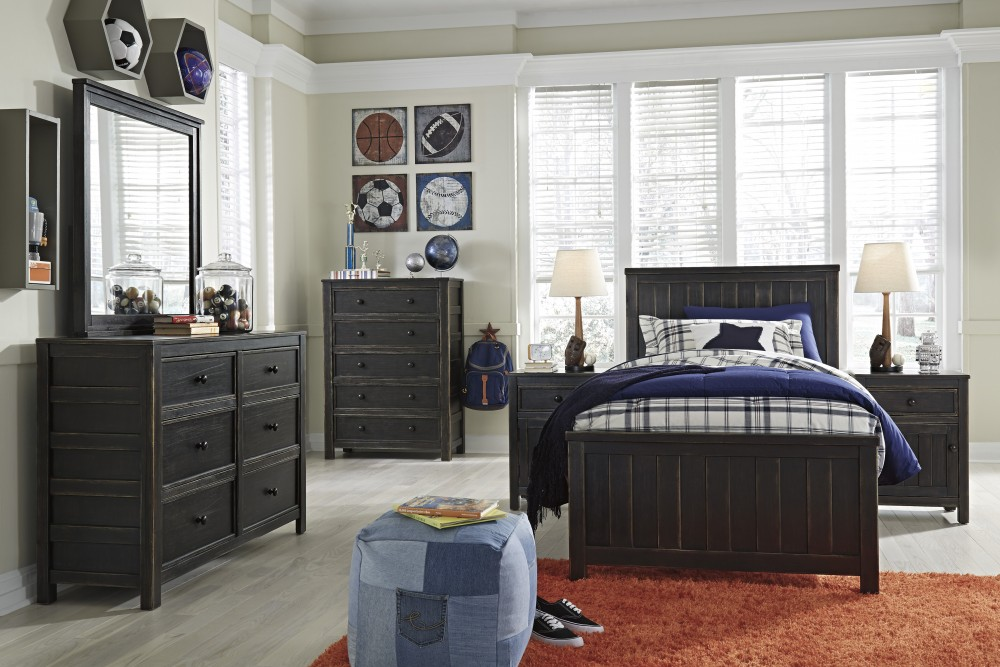 Jaysom Dresser, Mirror & Twin Panel Bed