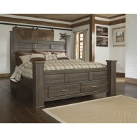 Juararo Cal King Poster Bed with Storage