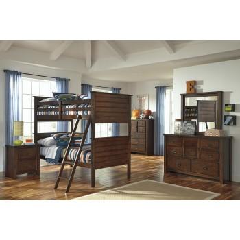 Ladiville Bunk Bed (twin/twin), Dresser & Mirror