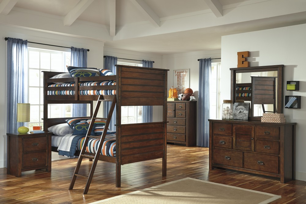 Ladiville Bunk Bed (twin/twin), Dresser & Mirror