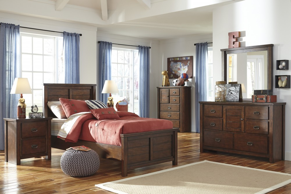 Ladiville Twin Bed, Dresser & Mirror