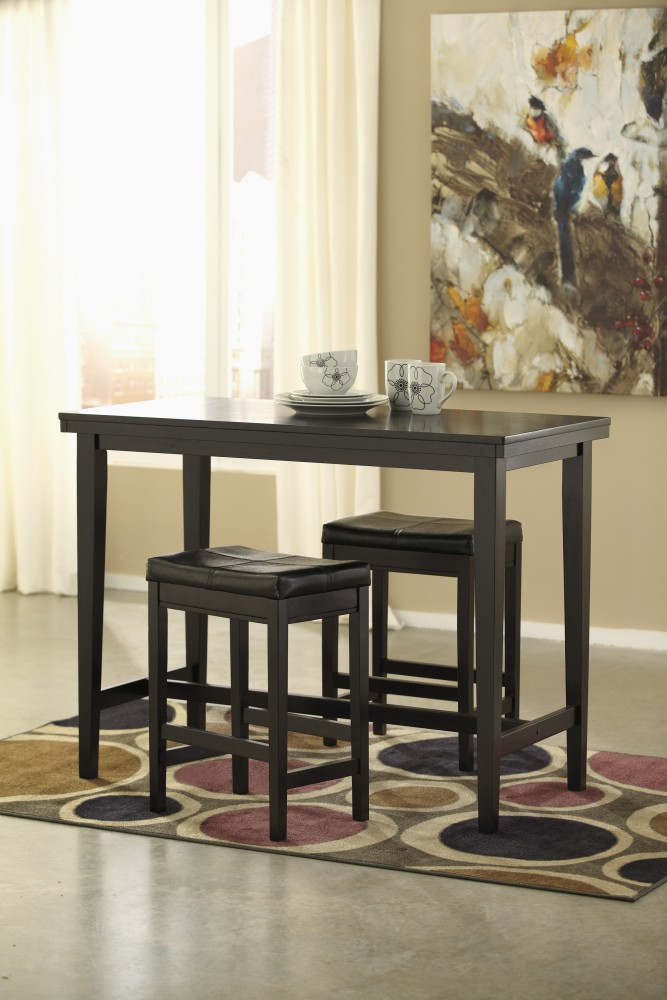 Kimonte Pub Table U0026 2 Dark Brown Bar Stools