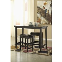 Kimonte Pub Table & 2 Dark Brown Bar Stools