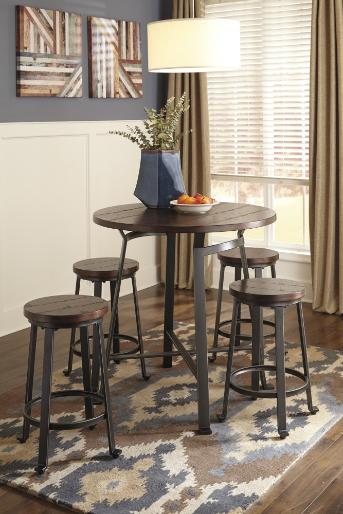 Challiman Round DRM Counter Table & 4 Stools