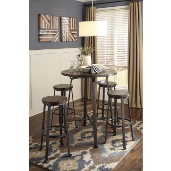 Challiman Round Dining Room Bar Table & 4 Tall Stools