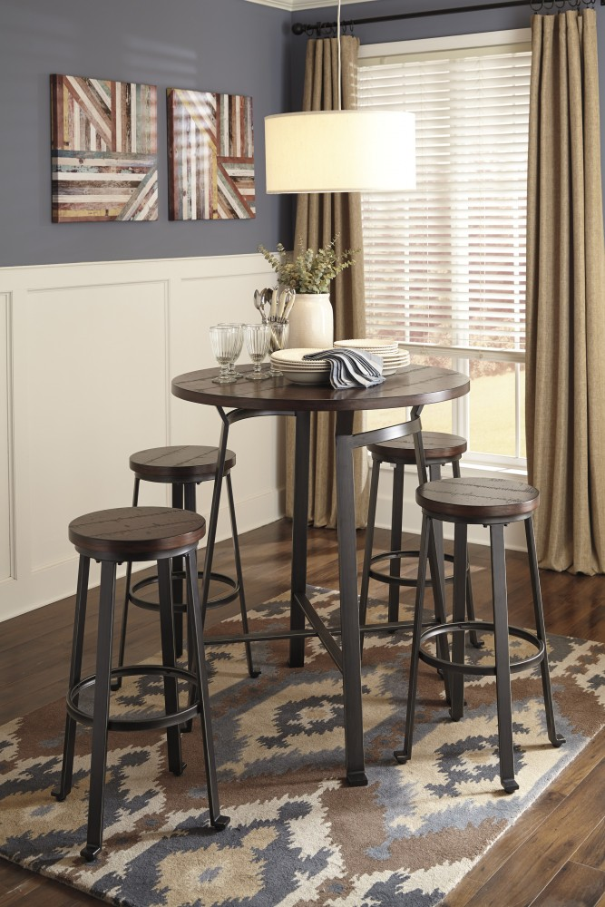 Challiman Round Dining Room Bar Table 4 Tall Stools Bar Table