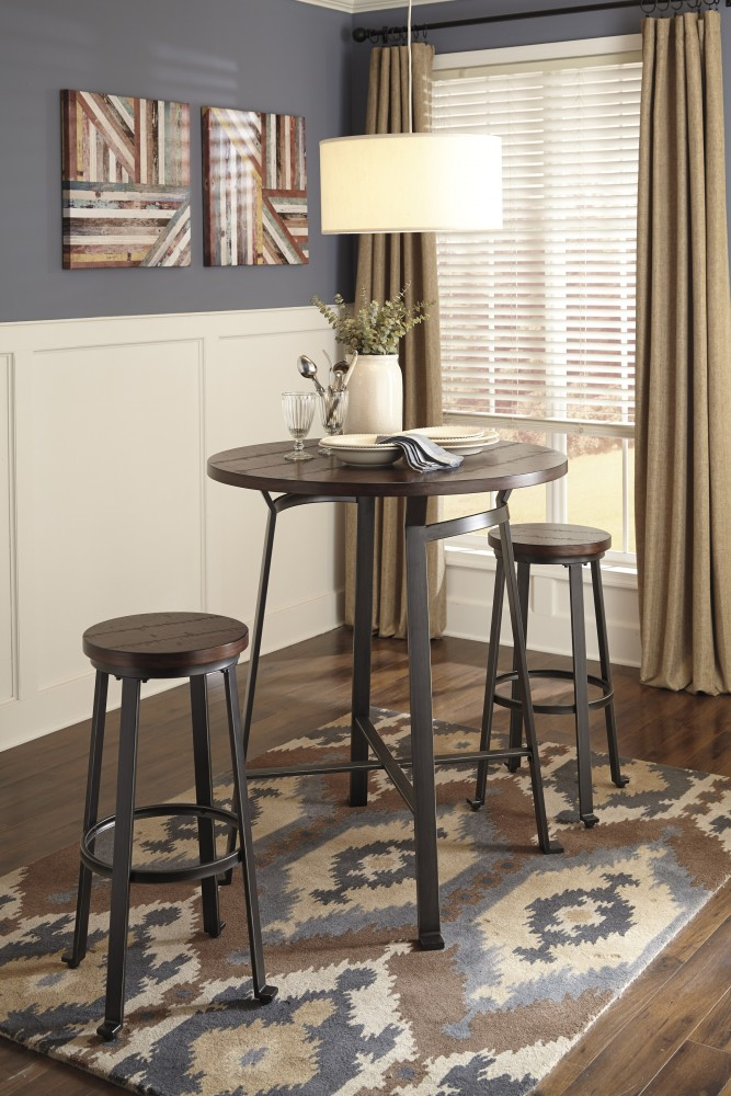 Challiman Round Dining Room Bar Table & 2 Stools