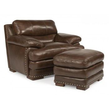 Dylan Leather Ottoman with Nailhead Trim