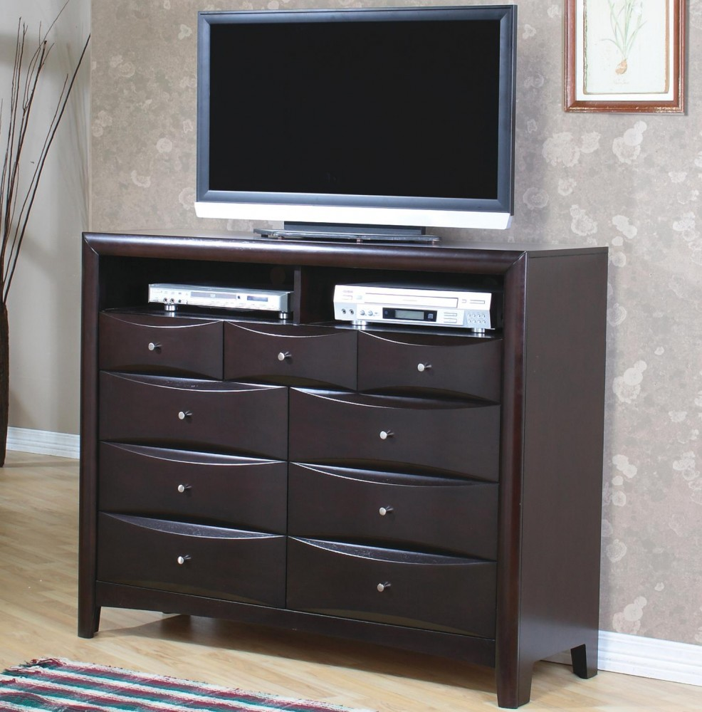 Phoenix Collection Contemporary TV Dresser with 9 Drawers and 2 Media Compartments