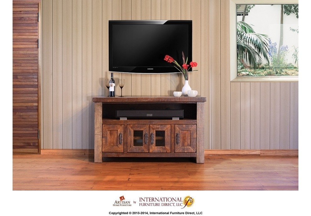 International Furniture Direct 76in Tv Stand W 2 Glass Doors 6