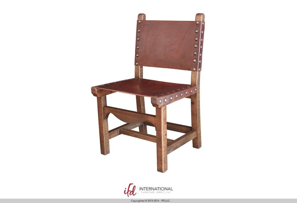 INTERNATIONAL FURNITURE DIRECT Wooden chair with leather on seat and back