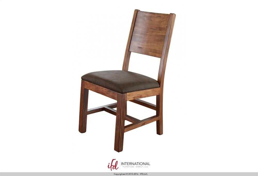 INTERNATIONAL FURNITURE DIRECT Wooden chair with Faux Leather Seat - wooden chair seats
