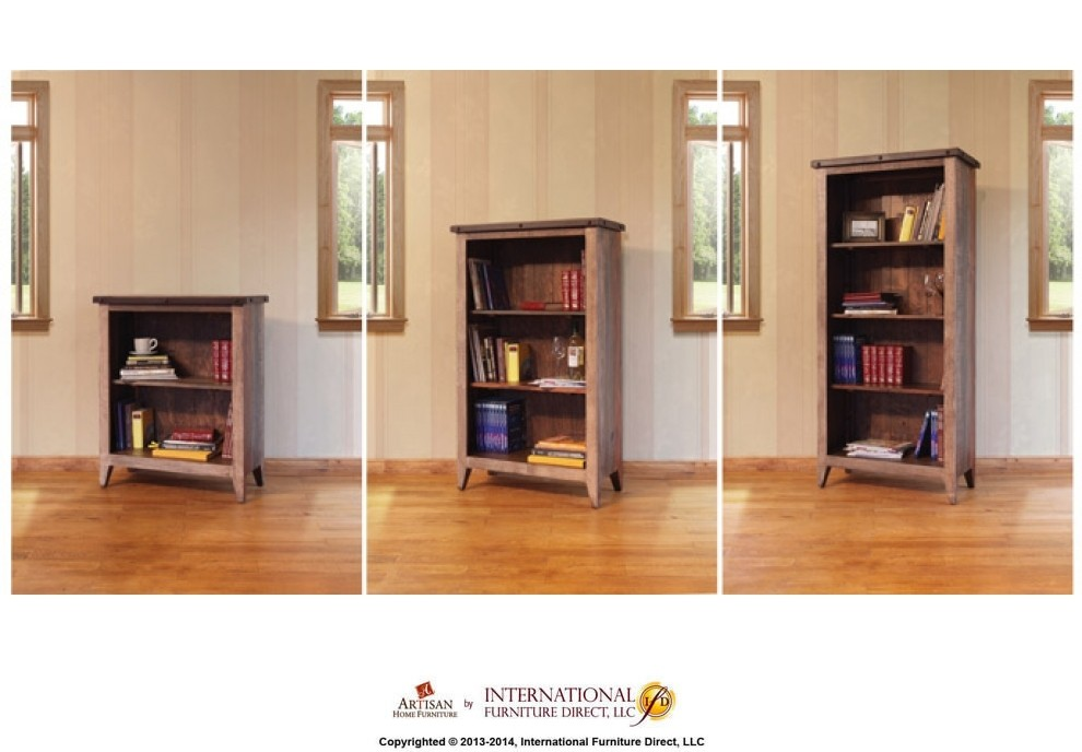 INTERNATIONAL FURNITURE DIRECT Bookcase, 12 different positions available for shelves (includes 2 removable shelves, 1 middle fixed shelf)