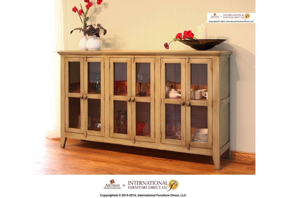INTERNATIONAL FURNITURE DIRECT Olive Console W/6 Doors