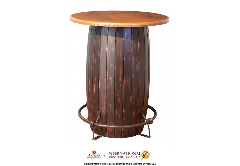 INTERNATIONAL FURNITURE DIRECT Bistro Table Base Barrel W/ Iron Footrest