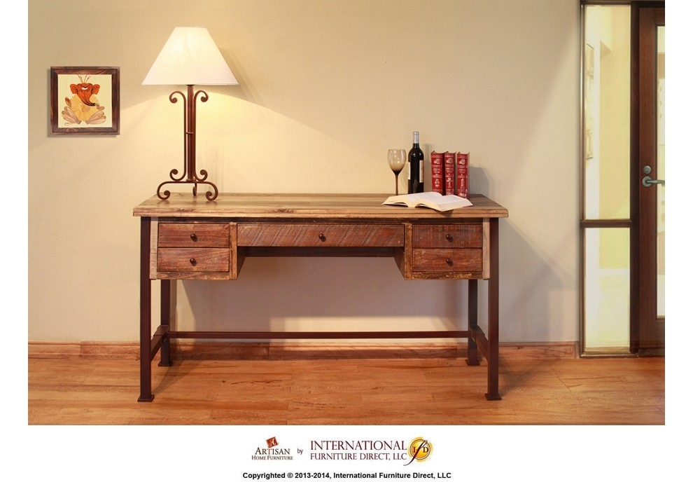 INTERNATIONAL FURNITURE DIRECT Writing Desk Reclaimed Wood Finish   KD  System